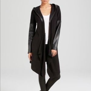 Blank NYC | Vegan  Leather Hooded Cardigan Black